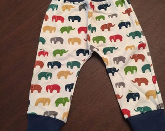 Organic Cotton Baby Clothes Handmade Cream with Elephants Pants Leggings 9-12mo