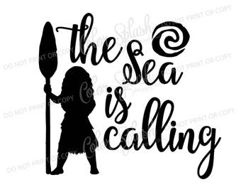 moana disney princess sea is calling svg, dxf, png, eps cutting file, silhouette cameo, cuttable, clipart