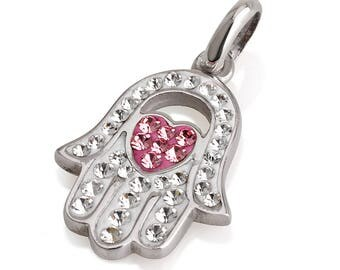 Hamsa Silver Pendant With White Gemstones + 925 Sterling Silver Chain #47