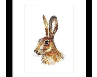Original Hare Watercolour Painting, Animal Painting,  Wildlife Art.