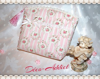 Pouch for make-up or jewellery - shabby pink - crowns and stripes fabric