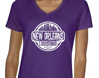 New Orleans Louisiana V Neck T shirt