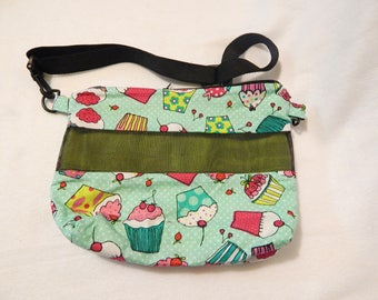 Deluxe Carry Bag, Cupcakes Print W/ Lime Green  Anti Pill Fleece, For Hedgehogs,Sugar Gliders,Rats,Short Tailed possums, Rats,Small Animals