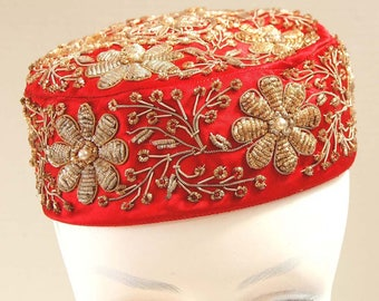 Vintage Beresford Red cocktail hat - Mid-century Boho - Gypsy sparkles – Turkish Harem - Belly Dance Costume - 1950s – Hand beaded