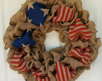Patriotic wreath / Burlap Wreath / Red White Blue Wreath / July 4th Wreath / Americana Wreath / Wreath for Door /