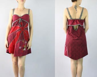 Maroon Rising Sun Spaghetti Straps Cotton Dress