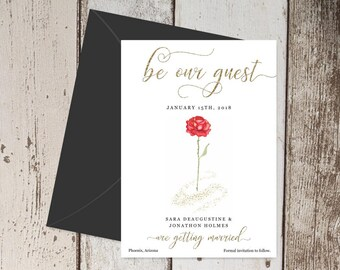 Beauty and the Beast Save the Date Card Invitation Announcement - Printable Template, Red Rose & Gold Glitter, Instant Download Digital File