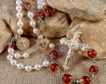 "CHAPLET of the HOLY FACE Complete Artisan Rosary Includes 5 Suffrages // Catholic Devotional // Holy Shroud, ""Precious Pearls Gathered Up"""
