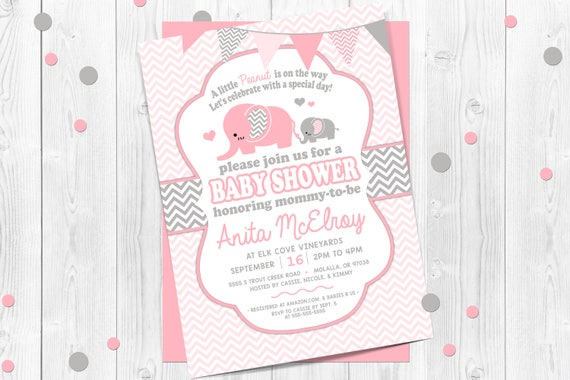 Pink elephant baby shower invitation pink and gray chevron pink il570xn filmwisefo