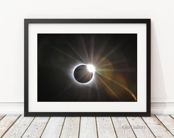 Total Solar Eclipse 2017, Frame or Photo Wood Block, Astrophotography, Eclipse Photography, Totality, Diamond Ring, Eclipse Photo Gift