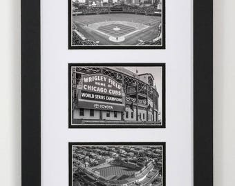 B&W Chicago Cubs Collage Frame 12x20, Chicago Cubs Three Photo Set, Neon Sign, Cubs Gift, MLB, Mens Gift, Man Cave, Baseball, Wrigley Field