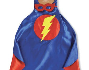 SuperHero Cape and Mask Set, Mud Pie, Reversible Mask