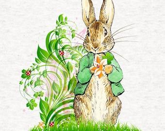 Peter Rabbit, Summer Time Peter- Lightweight  Polyester White Fabric - As light as cotton