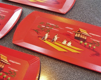 Haskelite Asian Lap Trays Hasko Lap Trays  Red  1950s  Set of 4  Vintage