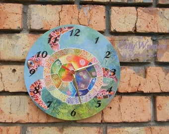 Wood Wall Clock Turtle, for children, Home Decor, wall clocks handmade, White wall clock, natural wood, wooden clock, Wooden clock 12inch