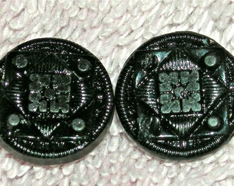 Antique Set of 2 Victorian Black Glass Buttons, Mourning Buttons, Self Shank, Half Inch, Antique Supply, Collectible, Circa Mid 1800s