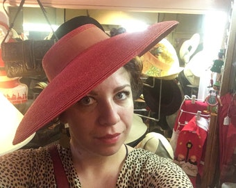 Vintage Red Straw Wide Brim Hat with Red Ribbon