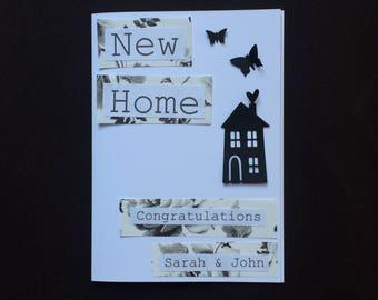 Handmade Personalised New Home Card First Home New House Monochrome Design 3D Butterflies Friend Family Mum and Dad Grandparents Vintage