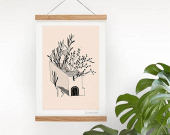 Peach pink house art print with plants print rustic wild wall art A4 nordic style botanical wanderlust plant line art urbex modern