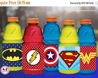 60% OFF SALE Superhero Water bottle Wrappers, 60 Percent savings  Party Decorations, instant download, Hero Party, Pow, Bang, Kapow, Zap, Bu