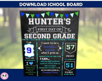 First day of school board - birthday board - editable file - you edit yourself - print today - chalkboard - art - age - weight - height -
