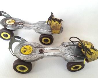 Vtg Mickey Mouse Wald Disney Prod Adjustable Roller Skates Metal Wheels Leather Straps Kids Retro Skates Sports Kid's Room -Made in USA