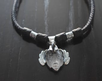 Mens .925 Sterling Silver Braided Leather and Pakal mayan warrior handcarved Quartz Necklace Handmade.