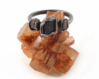 Garnet and Black Tourmaline Ring, January Birthstone, October Birthstone, Raw Crystal, Electroformed, Copper, Raw Stone Ring, 3 Stone Ring