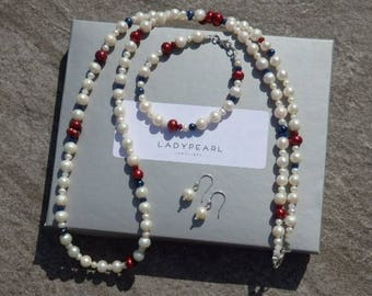 Red White and Blue Pearl Necklace, Pearl Bracelet and Earrings, Pearl Jewellery, White Pearls, Matching Set