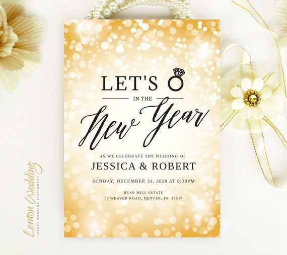 New Year's Eve Wedding Invitations Printed On White