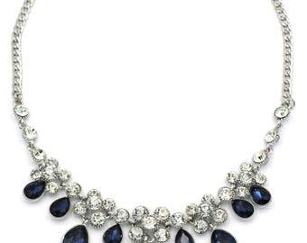 Noble blue garnet crystal necklace