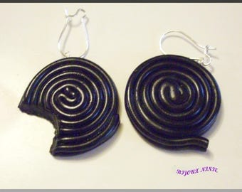 Earrings gourmet licorice rolled bitten polymer clay