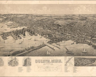 Poster, Many Sizes Available; Birdseye View Map Of Duluth Minnesota 1893