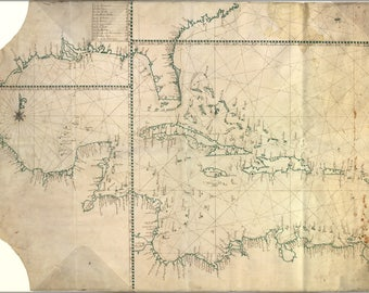 Poster, Many Sizes Available; Map Of Caribbean With West Indies Cuba Florida Gulf Of Mexico 1770