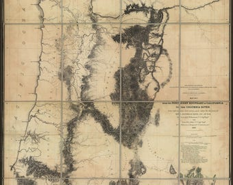 Poster, Many Sizes Available; Map N California To Columbia River 1855