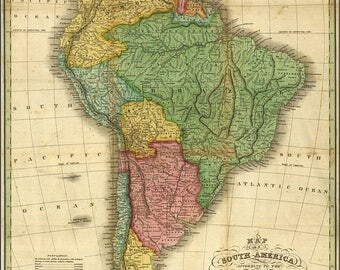 40% OFF SALE Poster, Many Sizes Available; Map Of South America 1826