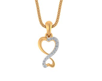 14k Yellow Gold Heart Pendant - Certified Diamond Pendant Necklace -Gold Pendant - Valentine's Gift Pendant