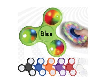 Personalized Custom Flashing Light Up Fidget Hand Spinner - Promotional Unique Gift Favors For Kids Adults