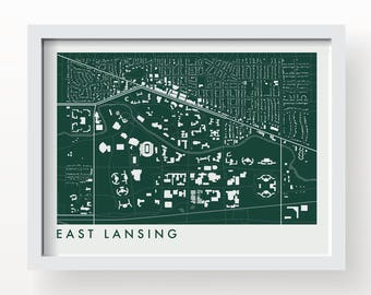 EAST LANSING MICHIGAN Map Print - graphic drawing art poster Michigan State Spartans
