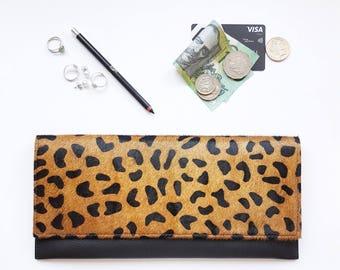 Minimalist Clutch - Cowhide - Tan Leopard