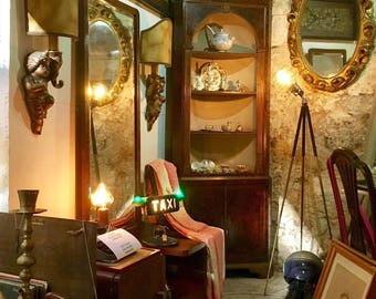 antique english corner niche cupbord