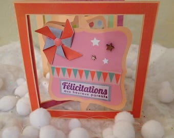 Congratulations birth accordion-shaped and small animals card