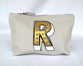 Letter Pencil Case, Monogram Make-up Bag, Personalised Pouch, Alphabet Cosmetic Case, Initial Stationery Lover gift, bridal gift