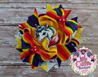 Rainbow Unicorn Hair Bow Unicorn Stacked Boutique Bow Fantasy Animal Hair Bow Rainbows and Unicorns Birthday Party Accessory Boutique Bow