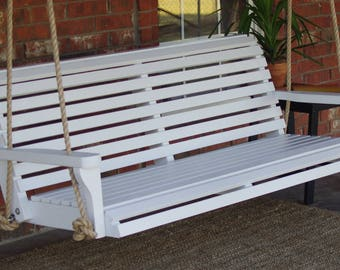 Brand New 5 Foot Painted Classic White Porch Swing - with Hanging Chain or Rope - Free Shipping