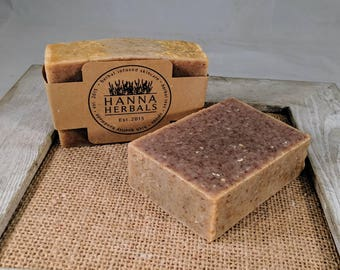 Oatmeal Exfoliating Soap - Fragrance free - all natural soap - hot processed soap