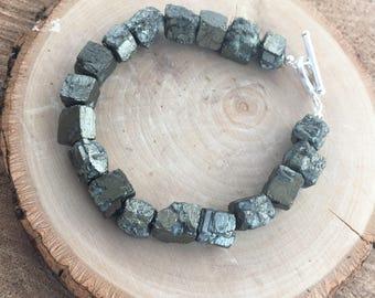 Chunky Gemstone Pyrite Fools Gold Bracelet with Sterling Silver / gemstone bracelets / pyrite jewelry /raw stones /sterling silver bracelets