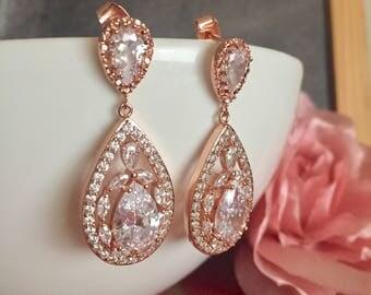 Rose gold bridal earrings wedding earrings wedding Jewelry Long Peardrop earrings bridal earrings long bridal jewelry  Cubic Zirconia earng