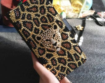 Bling Cheetah Print Gold Tiger Leopard Flip Slot Cards Holder Wallet Leather Gems Crystal Rhinestones Diamonds Fashion Case for Mobile Phone