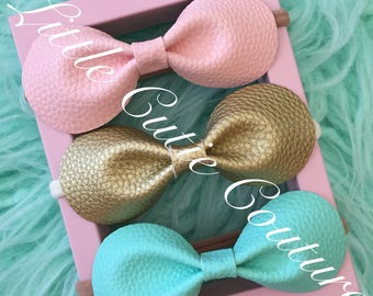 Faux Leather Hair bows, Faux Leather Headband